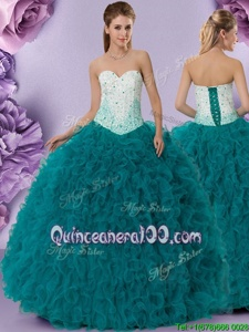 Glamorous Floor Length Ball Gowns Sleeveless Teal Sweet 16 Dress Lace Up