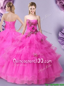 Cute Hot Pink Ball Gowns Tulle Sweetheart Sleeveless Appliques and Ruffled Layers and Hand Made Flower Floor Length Lace Up Ball Gown Prom Dress