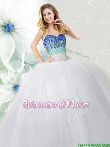 Nice Sleeveless Floor Length Beading Lace Up Ball Gown Prom Dress with White