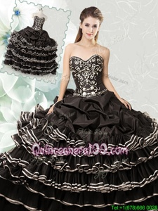 Ideal Pick Ups Ruffled Sweetheart Sleeveless Lace Up Vestidos de Quinceanera Black Organza