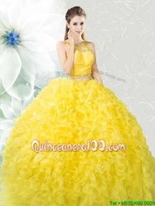 Glorious Scoop Yellow Sleeveless Organza Zipper Quinceanera Gown forMilitary Ball and Sweet 16 and Quinceanera