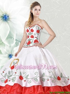 Customized Floor Length Lace Up Quinceanera Gown White and Red and In forMilitary Ball and Sweet 16 and Quinceanera withEmbroidery and Ruffled Layers