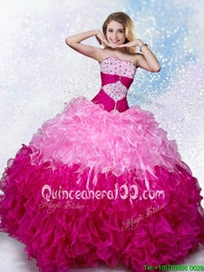Multi-color Sleeveless Organza Lace Up Sweet 16 Dress forMilitary Ball and Sweet 16 and Quinceanera