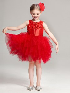 Best Selling Scoop Mini Length Zipper Flower Girl Dresses Red for Party and Quinceanera and Wedding Party with Appliques and Ruffles