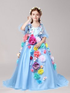 Wonderful Baby Blue V-neck Zipper Hand Made Flower Toddler Flower Girl Dress Brush Train Half Sleeves