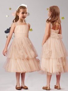 Edgy Straps Appliques and Ruffles and Bowknot Toddler Flower Girl Dress Champagne Zipper Sleeveless Tea Length