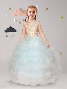 Spectacular Ball Gowns Toddler Flower Girl Dress Apple Green Halter Top Organza Sleeveless Floor Length Lace Up