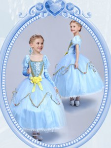 Pretty Light Blue Ball Gowns Tulle Scoop Short Sleeves Beading and Sequins and Hand Made Flower Tea Length Side Zipper Flower Girl Dresses for Less