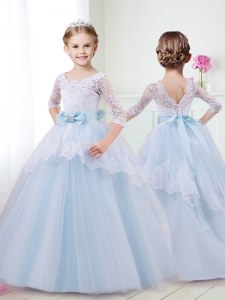 Colorful Scoop Half Sleeves Tulle Flower Girl Dresses Lace and Bowknot Brush Train Lace Up