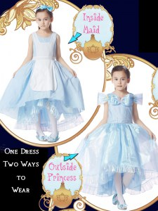 Organza Scoop Cap Sleeves Zipper Bowknot Flower Girl Dress in Light Blue