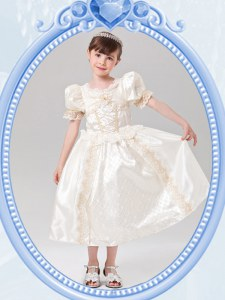 Superior White Flower Girl Dress Quinceanera and Wedding Party and For with Beading Scoop Short Sleeves Zipper
