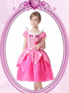 Delicate Short Sleeves Beading and Hand Made Flower Clasp Handle Flower Girl Dresses