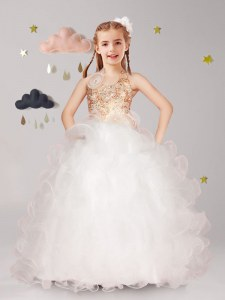 Exquisite Halter Top Sleeveless Floor Length Beading and Ruffles and Hand Made Flower Lace Up Flower Girl Dresses for Less with White