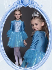 Excellent Scoop Mini Length Teal Flower Girl Dresses Taffeta and Tulle Long Sleeves Beading and Sequins