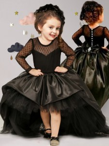 Comfortable Scoop Long Sleeves Taffeta and Tulle Flower Girl Dresses for Less Bowknot Brush Train Clasp Handle