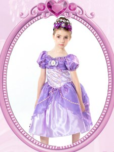Classical Lavender Short Sleeves Tea Length Beading and Bowknot Clasp Handle Flower Girl Dresses for Less