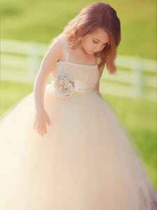 Most Popular Champagne A-line Tulle Straps Sleeveless Bowknot and Hand Made Flower Floor Length Zipper Flower Girl Dresses for Less