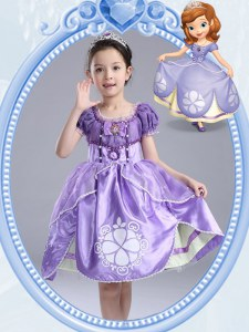 Scoop Short Sleeves Knee Length Side Zipper Toddler Flower Girl Dress Lavender for Party and Quinceanera and Wedding Party with Beading and Pattern and Bowknot