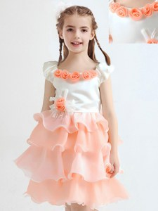 Peach Organza Zipper Scoop Cap Sleeves Knee Length Flower Girl Dress Ruffled Layers and Hand Made Flower