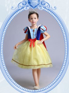 Luxury Yellow A-line Square Short Sleeves Organza Knee Length Zipper Bowknot Flower Girl Dress