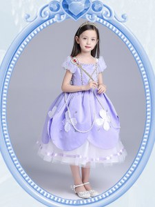 Hot Selling Square Short Sleeves Toddler Flower Girl Dress Tea Length Beading and Appliques Lavender Taffeta and Tulle