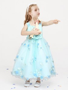 Customized Straps Light Blue Sleeveless Ankle Length Appliques and Bowknot and Hand Made Flower Zipper Flower Girl Dresses for Less