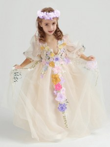 Champagne Half Sleeves Ankle Length Appliques and Hand Made Flower Zipper Toddler Flower Girl Dress