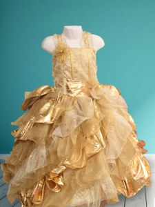 Straps Gold Sleeveless Floor Length Ruffles and Sequins and Hand Made Flower Lace Up Flower Girl Dress