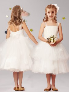 Luxurious White A-line Tulle Straps Sleeveless Appliques and Ruffled Layers and Bowknot Tea Length Zipper Flower Girl Dress