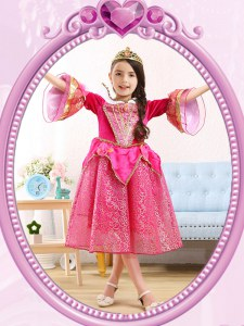 Best Selling Sequined Scoop 3 4 Length Sleeve Zipper Sequins Flower Girl Dresses in Hot Pink