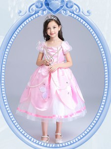 Classical Square Baby Pink Short Sleeves Taffeta and Tulle Zipper Flower Girl Dress for Party and Quinceanera and Wedding Party