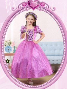 Best Selling Lilac Ball Gowns Scoop Short Sleeves Tulle Ankle Length Side Zipper Beading Flower Girl Dresses for Less