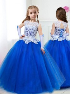 Scoop Royal Blue Sleeveless Floor Length Beading and Lace and Belt Lace Up Flower Girl Dress