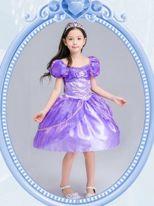 Beauteous Square Short Sleeves Organza Flower Girl Dresses Beading and Bowknot Side Zipper