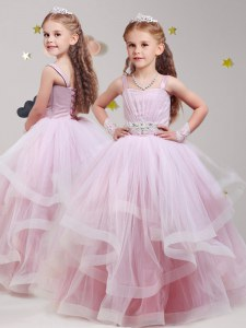 Fashion Straps Baby Pink Lace Up Flower Girl Dresses for Less Beading and Ruffles Sleeveless Floor Length
