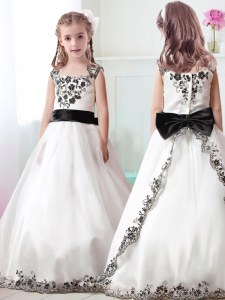 Low Price Straps White A-line Appliques and Belt Flower Girl Dress Zipper Tulle Sleeveless Floor Length