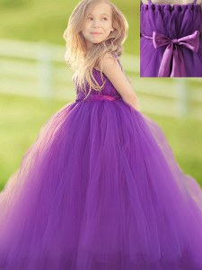 Straps Floor Length Eggplant Purple Flower Girl Dresses for Less Tulle Sleeveless Bowknot and Hand Made Flower