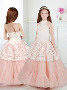 Sumptuous Halter Top Sleeveless Floor Length Beading and Lace Zipper Flower Girl Dresses with White and Peach