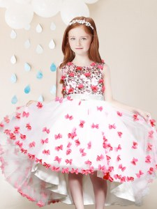 Suitable Scoop White And Red Sleeveless High Low Lace and Appliques Zipper Flower Girl Dresses
