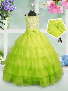Apple Green Organza Zipper Girls Pageant Dresses Sleeveless Floor Length Beading and Ruffled Layers