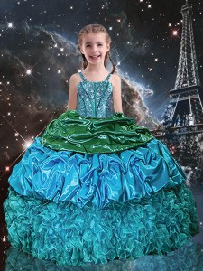 Trendy Pick Ups Spaghetti Straps Sleeveless Lace Up Little Girls Pageant Dress Aqua Blue Organza