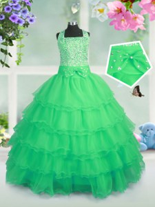 Attractive Organza Sleeveless Floor Length Pageant Dress Wholesale and Beading and Ruffled Layers