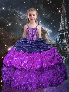 Pick Ups Floor Length Ball Gowns Sleeveless Eggplant Purple Pageant Dress for Teens Lace Up