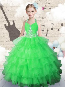 Affordable Halter Top Sleeveless Little Girl Pageant Gowns Floor Length Beading and Ruffled Layers Green Organza