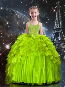 Luxurious Sleeveless Organza Floor Length Lace Up Kids Formal Wear in Yellow Green with Beading and Ruffles