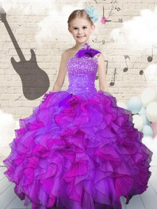 Glorious Purple One Shoulder Neckline Beading and Ruffles Pageant Dress Sleeveless Lace Up