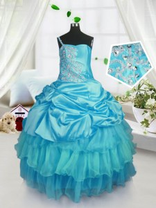 Nice Organza Sleeveless Floor Length Pageant Gowns For Girls and Pick Ups