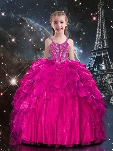 Latest Hot Pink Sleeveless Floor Length Beading and Ruffles Lace Up Evening Gowns