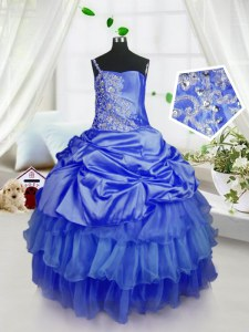 Excellent Strapless Sleeveless Organza Little Girls Pageant Dress Wholesale Beading and Ruffled Layers and Pick Ups Lace Up