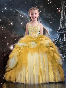 Sleeveless Beading and Ruffled Layers Lace Up Little Girl Pageant Dress